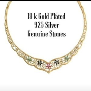 18K GOLD PLATED .925 SILVER W/ AUTH STONES CHOKER